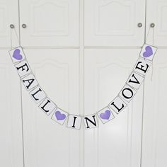 Wonderful handmade and hand painted banner Fall in love perfect for your engagement party day! Use as a wedding decor, table sign, chair sign, engagement