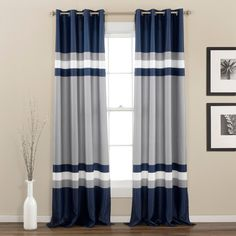Shop for Lush Decor Alexander Stripe Room Darkening Curtain Panel Pair - x Get free delivery On EVERYTHING* Overstock - Your Online Home Decor Outlet Store! Get in rewards with Club O! Striped Room, Striped Curtains, Navy Blue Curtains, Grommet Curtains, Drapes Curtains, Valances, Window Panels, Curtain Panels, Room Darkening Curtains