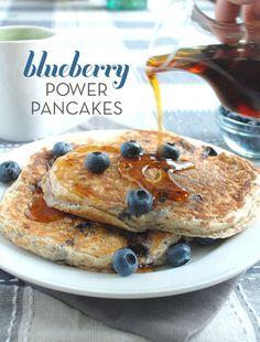 Blueberry power pancakes made with greek yogurt. GF option available