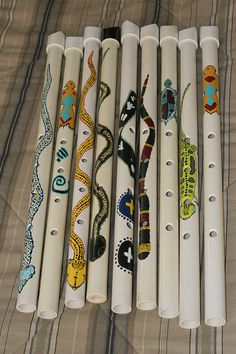 PVC Shakuhachi flute Hand painted Healing by HealingArtistry Recycled Crafts Kids, Crafts For Kids, Shakuhachi Flute, Homemade Musical Instruments, Native American Flute, Pvc Pipe Projects, Music Crafts, How To Make Diy, Diy Toys