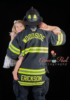 firefighter with his newborn & daughter