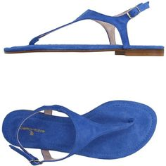 Settantatre Lr Thong Sandal ($155) ❤ liked on Polyvore featuring shoes, sandals, azure, flat shoes, round toe flat shoes, buckle sandals, genuine leather shoes and leather flat shoes