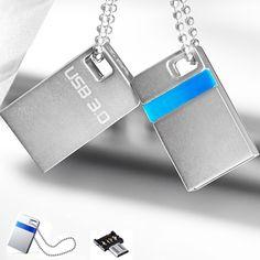 Super speed Mini USB 3.0 Flash Drive 32GB Memory Stick Waterproof Metal Drive Disk U Disk + OTG adapter for smartphone Tablet PC