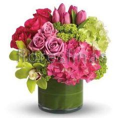 centros de mesa con rosas tulipanes y orquideas