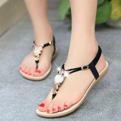 Women sandals 2016 35-42 comfort sandals women Summer Classic Rhinestone fashion flat plus size sandals
