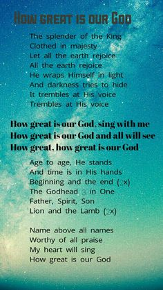 How great is our God King Outfit, Worship Songs, The Voice, Singing, Let It Be, God, Soul Food, Dios, Allah
