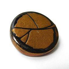 Polymer Clay Brooch Black with Copper Leaf Design by averilpam