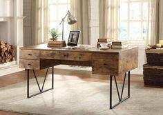 COF800999 Contemporary Desk Antique Nutmeg Top and Black Metal Legs