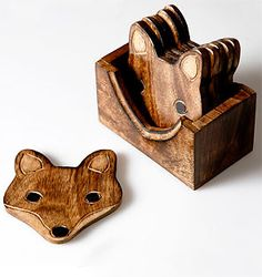 WOODEN FOX COASTER SET £15 ebay