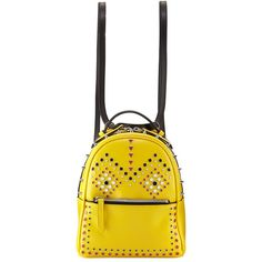 Les Petits Joueurs Micro Mick Mask Studs Backpack ($795) ❤ liked on Polyvore featuring bags, backpacks, handbags backpacks, yellow, strap backpack, backpack bags, studded leather bag, yellow backpack and studded leather backpack