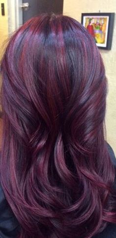 Violet red hair color, red balayage hair burgundy, hair color for dark skin Red Ombre Hair, Burgundy Hair, Purple Hair, Red Plum, Deep Burgundy, Brown Hair, Dark Red, Dark Plum Hair, Red Violet Hair