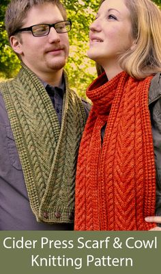 Cable Scarf Knitting Patterns- In the Loop Knitting Dishcloth Knitting Patterns, Loom Knitting, Crochet Shawl Diagram, Quick Knits, Knitting Designs, Knit Crochet, Cider Press, Scarf Design, Inspired