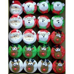 http://www.docesdonajoaninha.com.br/  Mini cupcakes decorados Natal  Papai Noel   Rena   Ursinho de cachecol