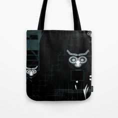 """Owls Abstract Digital Illustration TOTE BAG 13"""" X 13""""  Our quality crafted Tote Bags are hand sewn in America using durable, yet lightweight, poly poplin fabric. All seams and stress points are double stitched for durability. They are washable, feature original artwork on both sides and a sturdy 1"""" wide cotton webbing strap for comfortably carrying over your shoulder."""