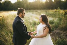 plus size wedding, field, bride and groom