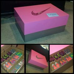 Schuhaufbewarung Pink Nike Shoe Box Www. Shoe Rack Box, Shoe Box Storage, Diy Shoe Rack, Storage Ideas, Pink Nike Shoes, Pink Nikes, Giant Shoe Box, Wooden Shoe Box, Shoe Drawer