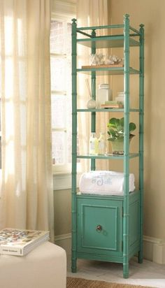 Interior HomeScapes offers the St. Bart''s Etagere by Somerset Bay. Visit our online store to order your Somerset Bay products today. Bamboo Furniture, Bathroom Furniture, Diy Furniture, House Furniture, Furniture Stores, Furniture Companies, Accent Furniture, Turquoise Painted Furniture, Turquoise Painting