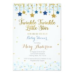 Shop Twinkle Twinkle Little Star Baby Shower Invitation created by HappyPartyStudio. Personalize it with photos & text or purchase as is! Baby Shower Decorations For Boys, Baby Shower Themes, Baby Boy Shower, Shower Ideas, Shower Invitations, Custom Invitations, Invitaciones Baby Shower Niña, Happy Party, Star Baby Showers