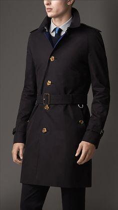 Mid-Length Contrast Undercollar Gabardine Trench Coat | Burberry