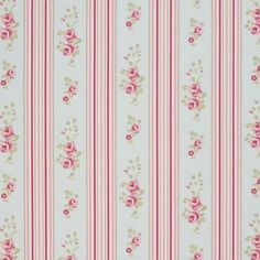 Floral Stripe - Chintz - Cream cotton fabric with pink and red stripe pattern and vintage rose motifs from Studio G Striped Quilt, Striped Fabrics, Floral Stripe, Floral Fabric, Cotton Fabric, Brown Floral, Usa Wallpaper, Bedroom Wallpaper, Clarke And Clarke Fabric