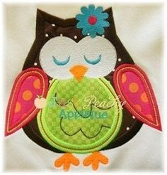 Whimsical Owl Machine Embroidery Applique by JustPeachyApplique, $4.00