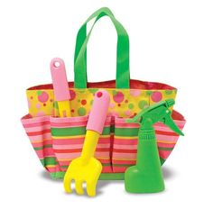 The Blossom Bright Tote Set is an adorable tote bag that stores children's gardening tools and helps them to enjoy gardening and the outdoors. A must have for any new gardener! Part of the Sunny Patch collection.  Set includes Trowel, Cultivator, and Spray Bottle!   #SpringGummylump