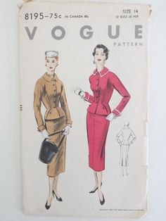 VOGUE Unprinted Complete Pattern  No. 8195    **Unused and factory folded with all original 20 pieces**  Suit  Size 14, Misses  Date: 1953  Bust: