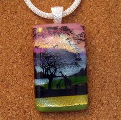 Dichroic Scenic Pendant - Giraffe Pendant - Dichroic Landscape Pendant - Scenic Layering Pendant - Dichroic Jewelry - Fused Glass Pendant by GlassMystique on Etsy