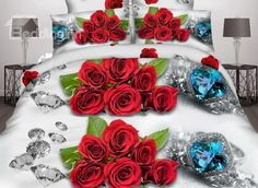Shining Diamond and Red Rose #3D Printed 4 Pieces Polyester Bedding Sets #bedroom #bedding