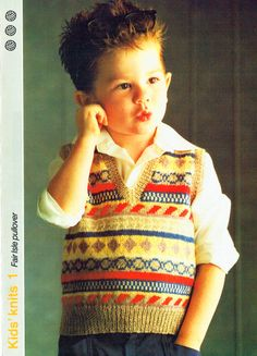 Kids Fair Isle Vest by AuthenticIrish on Etsy Vintage Knitting, Vintage Sewing, Baby Knitting, Knitting Designs, Knitting Patterns, Crochet Patterns, Retro Outfits, Kids Outfits, Fair Isle Pattern