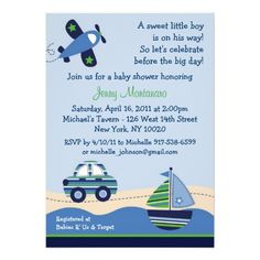 baby shower invitations for boys car boat airplane boys baby shower