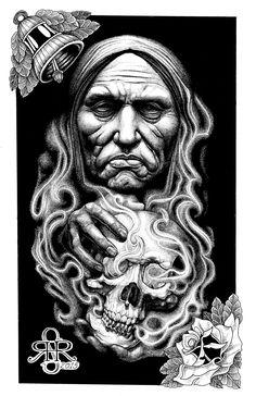 Massacre Island man holding skull pen and ink stippling Sean Herman