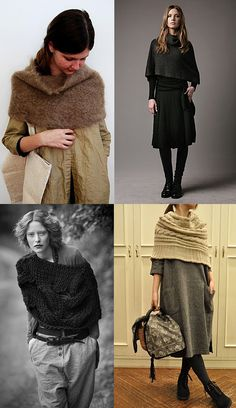 knitted capelets// ever since watching the 2011 version of Jane eyre I have wanted to make something like this Knitted Capelet, Knit Cowl, Knit Or Crochet, Crochet Shawl, Crochet Capas, Knit Art, Fashion Socks, Knitting Accessories, Knitting Yarn