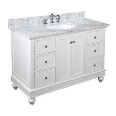 vanity no fake drawers center space lots of drawers nice legs white bathroom