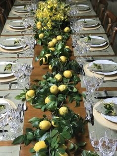 Wedding table - decorated with fresh lemons and leaves - Hochzeit cupcakes - Wedding table – decorated with fresh lemons and leaves Informations About Hochzeitstafel – dekor - Wedding Table Decorations, Decoration Table, Table Centerpieces, Lemon Centerpiece Wedding, Italian Table Decorations, Wedding Table Runners, Wedding Themes, Wedding Ideas, Lemon Party