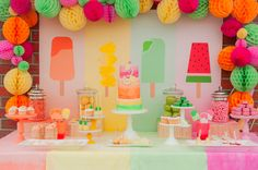 Popsicle Party Ideas for kids! This stunning colorful popsicle party is adorable for any little girl or summer celebration. Fruit Birthday, First Birthday Parties, Birthday Party Themes, Girl Birthday, First Birthdays, Summer Birthday, Birthday Celebration, Birthday Candy, Party Summer