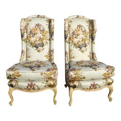 Vintage French Country Floral Tall Back Wingback Chairs- a Pair For Sale The Casual Vacancy, Lilac Bedroom, Chairs For Rent, Used Chairs, Wedding Chairs, Dining Table Chairs, Tub Chair, French Vintage, French Country