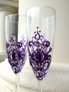Wedding champagne glasses with a fleurdelis by PureBeautyArt, $64.00