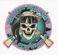 """Cold Dead Hands - Bullets and Bows Skull Decal. Since we know the products we typically carry lack that certain """"feminine"""" touch, we decided we needed to provide a little something for those ladies that like to be a little """"girly"""" out on the range, but still like to maintain their Tom-boyishness!  Well here is our first offering... Cold Dead Hands """"Bullets & Bows""""."""
