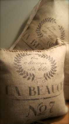 sew ends of burlap pillow with twine