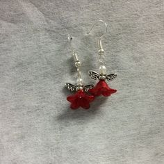 Handcrafted Red & White Angel Earrings