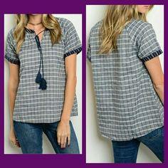 Blue Plaid Blouse Tassel Neckline Denim Fall Autumn Fashion S M L NWT Boutique   eBay