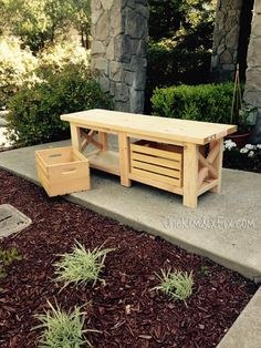 DIY X-Leg Wooden bench. Made with simple 2x4s. Custom fit around 2 store bought wooden crates so you have plenty of storage! I LOVE IT!