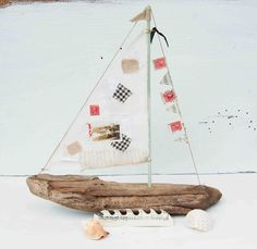 Driftwood SAILBOAT Collage Art Wooden Boat Sailor Nautical Beach Decor