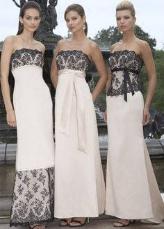 Black and Ivory Bridesmaid Dresses | Elegant Ivory Junior Bridesmaid Dress Modestneck - wedding favors ...