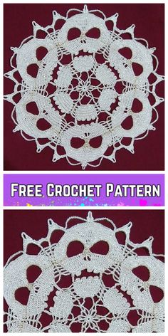 Tinker pompoms - make curly-soft pompoms yourself - house decorationFast pompomsHalloween Skull Doilies free crochet never too late to crochet Skull Doily for your Halloween table set! shared some Halloween crochet projects, and Filet Crochet, Beau Crochet, Crochet Fall, Holiday Crochet, Crochet Gifts, Diy Crochet, Crochet Coaster, Free Crochet Doily Patterns, Crochet Motifs