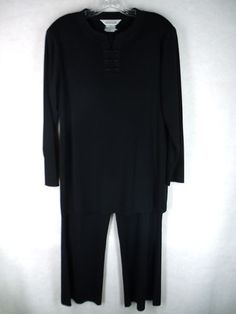 Exclusively MISOOK Womens Solid Black Acrylic 2 PC Top and Pants Outfit M MP | eBay