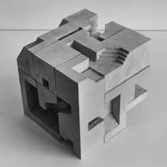 Concrete modular sculpture based on the Soma Cube geometry. By David Umemoto Concrete Sculpture, Concrete Art, Geometric Sculpture, Abstract Sculpture, Abstract Art, Slab Ceramics, Architectural Sculpture, Study Architecture, Futuristic Architecture