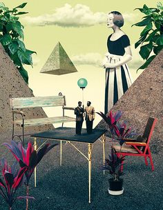 Julien Pacaud - Illustration to present garden furnitures, for Architectural Digest, Germany (march 2012)