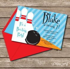 INSTANT DOWNLOAD Bowling Birthday Boy Blue by PaperZooPrintables